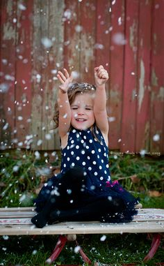 Kids outdoor Christmas Session Fake snow, old sled, and barn #photography