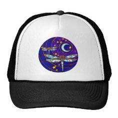 dragonfly moon mesh hat
