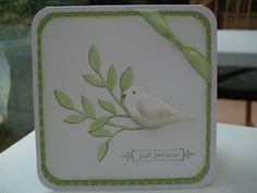 handmade card with the two-step bird punched in white ... lovely card ... Stampin' Up!