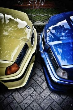 BMW E36 M3 duo dakar yellow estoril blue