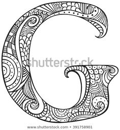 Illustration about Hand drawn capital letter G in black - coloring sheet for adults. Illustration of personal, silhouette, coloring - 111175142 Emoji Coloring Pages, Coloring Letters, Monster Coloring Pages, Easy Coloring Pages, Alphabet Coloring Pages, Doodle Coloring, Free Printable Coloring Pages, Adult Coloring, Doodle Lettering