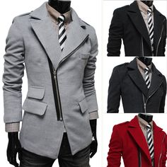 5d92ba024ef Find More Wool   Blends Information about Korean Stylish Men s Business  Casual Slim Irregular Trench Tweed