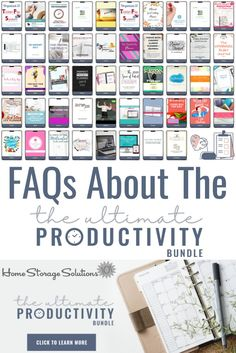 Here are answers to frequently asked questions about the Ultimate Productivity Bundle that have been asked, so you can learn more about this great deal to help you conquer your to do list, reach your goals, and free up more time for yourself. Clutter Organization, Home Organization Hacks, Organizing Your Home, Organizing Tips, Home Storage Solutions, Home Management, Family Organizer, Fun Cup, Printable Planner