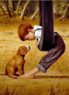 <눈을 마주하다(Eye to Eye)>   짐 데일리 (Jim Daly)짐 데일리는 1940년 미국 오클라호마주에서 출생하였고, '감성을 전하는 화가'로 널리 알려져있다. 그는 주로 20세기 초부터 2차 세계대전까지의 미국 농촌 아이들을 그림에 담았다.  이는 오래된 사진을 한 장 한 장 넘기면서 느껴지는 것과 같은 향수를 불러 일으키기 때문에 오늘날에도 미국에서 큰 인기를 누리고있다. 존 데일리는 '회화의 기술보다는 작품속에 감성을 어떻게 녹여 넣을것인가에 몰두하고 싶다'라고 하였다. 그의 말처럼 그의 그림은 에둘러 오지 않고 보는 관객의 가슴속으로 바로 다가오는듯한 느낌을 준다. 이 그림속의 아이는 빤히 강아지를 쳐다보고있다. 애틋하면서도, 사랑스러운 그러한 감성을 이들의 눈빛을 통해 느낄 수 있다. 그는 화려한 회화의 기술보다 감성을 전달하려는 화가의 대표적인 예이다.
