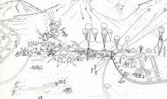 Oma/Rem Koolhaas early sketches – Compétition pour l'aménagement de la plaine Sacrée de Saint Gerasimos, 1984