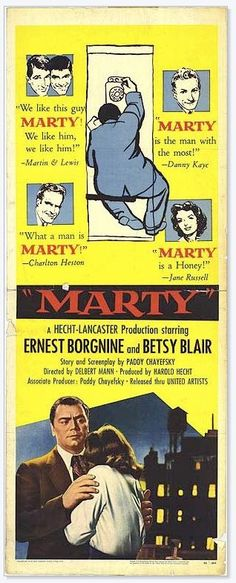 3 Lines About...: Marty (1955) | Classic movie posters, Old movie posters, Romantic movies Old Movie Posters, Classic Movie Posters, Cinema Posters, Classic Movies, Classic Tv, Oscar Best Picture, Best Picture Winners, Old Movies, Vintage Movies