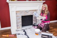 Easy DIY fireplace makeover- how to add rock facing for a whole new look- easy home update