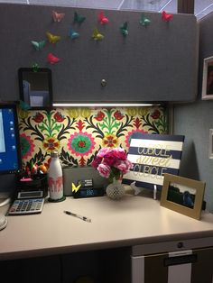 office work desk. Love This Waverly Fabric Pinned Over The Covered Walls! Also Origami Butterflies. Office CubeOffice DeskOffice Cubical DecorWork Work Desk T