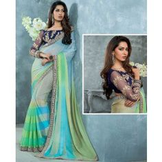 Unique Cyan Blue and Green Saree