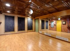 I want this as my dance studio in my house one day! Love the chalkboards (prob use white boards) for choreography!!