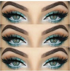 Turquoise green eyes with white liner. Shop our eye liners here > https://www.priceline.com.au/cosmetics/eyes/eye-liner                                                                                                                                                     More