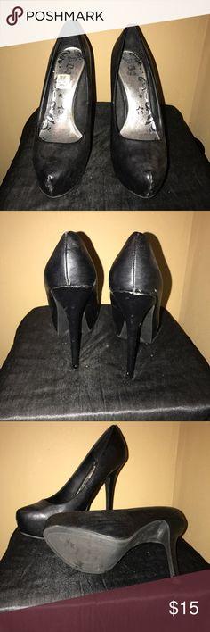 Black high heel pumps All black 4+inch heel pump from Payless worn once Shoes Heels