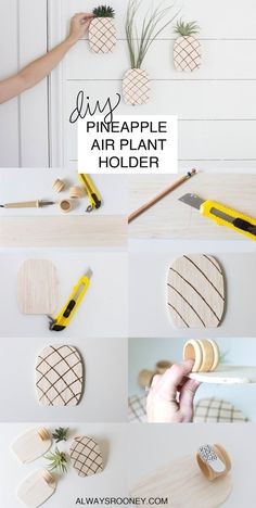 Pineapple Air Plant Holder What a cute idea bringing together two of the things we love best! Diy Craft Projects, Diy And Crafts, Wooden Crafts, Air Plant Terrarium, Terrariums, Pineapple Room, Diy Planters, Air Plants, Gardening