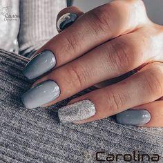 May 2020 - mismatched blue grey and silver nails, mismatched nail designs, winter nails - Gray Nails, Silver Nails, Neutral Nails, Grey Acrylic Nails, Pastel Nails, Black Nails, Glitter Nails, Grey Nail Designs, Colorful Nail Designs