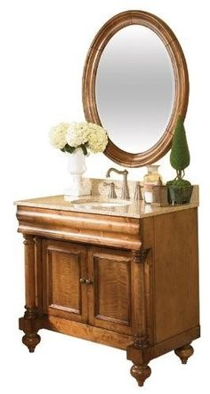Kaco international 725-3000-P-GH Guild Hall 30-Inch Vanity in Distressed Pecan Sherwin Williams Finish and Gold Hill Granite Top