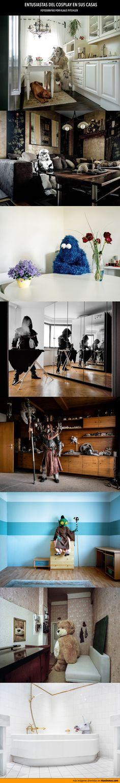 Entusiastas del cosplay en sus casas. Fotografías de Klaus Pitchler.