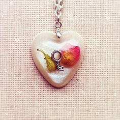 Real Rose Petal and Key Resin Pendant Heart by lowelowejewelry, $26.00