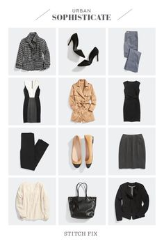 Being that I have an office job, this is probably how my closet should look. I wouldn't ever wear a tweed jacket and my office is too casual for heels and a pencil skirt. But love those flats and the cream top/black slacks/blazer