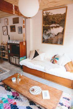 Alex's Stylish Small Home in a Converted Garage...love the record unit.