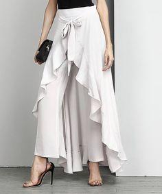 Loving this Off-White Chiffon High-Waist Ruffle Palazzo Pants - Plus on #zulily! #zulilyfinds