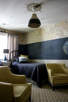 Adore this boys' room. That is a chalk board wall under the map.