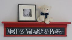 "Sports Wall Decor Nusery Room Decor - Most Valuable Player Sign on 30"" Red Shelf Navy Blue Baseball Nursery Art"