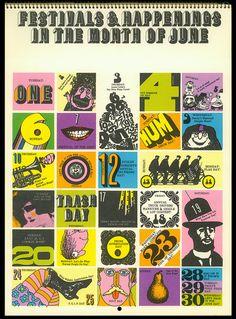 Psychedelic Hallmark Calendar, 1970 - 6/71 by MewDeep, via Flickr