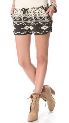 Maison Scotch Ikat Shorts- with chunky brown wedges