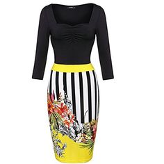 Womens Vintage Colorblock Floral Print Party Business Work Bodycon Pencil Dress M Yellow ** Continue to the product at the image link.(This is an Amazon affiliate link)