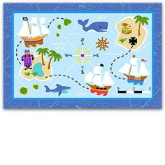 This bright Pirate Bedroom Rug has all the fun elements of a high seas treasure hunt. Pirate ships sail from island to island across this ocean map. Non-skid backing. Nylon.  Available at Funkidsroomdecor.com