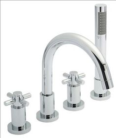 Hudson Reed - Tec Crosshead 4 Tap Hole Bath Mixer with swivel spout, shower kit & hose retainer at Victorian Plumbing UK Bath Taps, Bathroom Taps, Master Bathroom, Bathroom Ideas, Waterfall Taps, Shower Mixer Taps, Hudson Reed, Basin Mixer, Chrome Plating