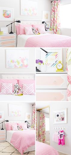 A feminine, bright and modern pink girl's room with DIY curtains, DIY art and even an Ikea Rast hack.