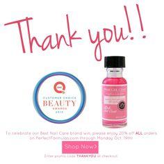 Enjoy 20% off ALL orders on PerfectFormulas.com through Monday October 19th, 2015. Enter promo code THANKYOU at checkout.