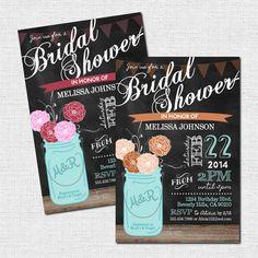 MASON JAR INVITATIONS - Chalkboard Bridal or Baby Shower (printable)