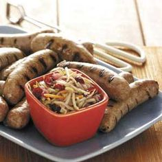 Turkey Brats with Slaw. I  love turkey brats better than the real thing.