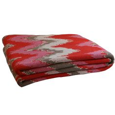 Cosy throw - Rosie Ikat in Pink and grey www.adornhomewares.com.au