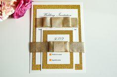 Gold and Cream Wedding Invitation set, Gold Glitter Wedding Invitation, three layered wedding invitation set, luxurious wedding invitation by KraziCrochet on Etsy