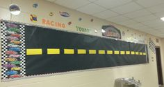 Racing Toward Perfect Attendance Bulletin Board Attendance Display, Attendance Incentives, Attendance Board, School Attendance, Attendance Ideas, School Decorations, School Themes, Classroom Themes, School Ideas