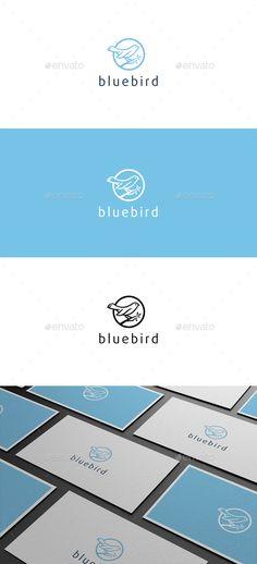 Blue Bird Logo Template Vector EPS, AI Illustrator