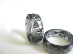 Resin Ring Silver Black wide faceted stacking ring by ARTISUNtis