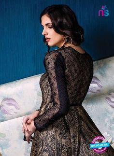 AZ 33713 Black And Brown Silk and Net Fancy Designer Gawn