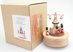 Plate rotates 360 degree with music box One -touch to stop music Music box base is made of real wood Japan Sankyo music movement used Music Kinder Symphonies Baby Stork, Wooden Music Box, Music And Movement, Wood Toys, Toy Boxes, Snow Globes, Merry, Place Card Holders, Music Boxes