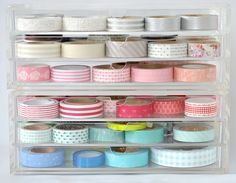 Neat way to store your Washi tape. Cute Supplies For Your Planner //Belinda Selene Craft Organization, Craft Storage, Organizing, Storage Ideas, Washi Tape Storage, Ribbon Storage, Home Office, Office Decor, Planner Supplies