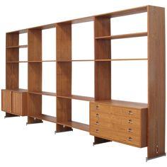Hans Wegner Freestanding Teak Bookcase Wall Unit Shelving System, Denmark 1969