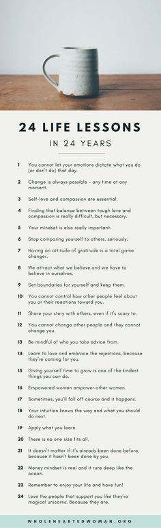 24 Life Lessons In 24 Years 24 Life Lessons in 24 Years & Life Advice & Personal Growth & Development & Mindset The post 24 Life Lessons In 24 Years & appeared first on Gesundheit . The Words, Life Advice, Good Advice, Life Tips, Life Hacks, Self Development, Personal Development, Vie Motivation, Health Motivation