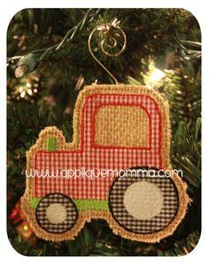 Tractor Ornament Applique Design
