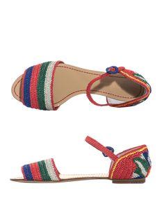 Raffia stripe and flower sandals   Dolce & Gabbana