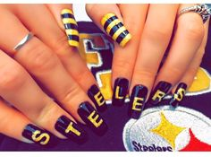 Pittsburgh Steelers Nails | Acrylic Gel Nails | Game Day Nails | Black Yellow |