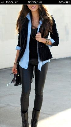 Layer a denim shirt under a chunky black cardigan or blazer. - Fall Shirts - Ideas of Fall Shirts Fall Shirts for sales. - Denim shirt under a chunky black cardigan or blazer with tight leather skinnies. could never pull this off but I love it. Mode Outfits, Casual Outfits, Fashion Outfits, Womens Fashion, Blazer Fashion, Latest Fashion, Casual Office Attire, Layering Outfits, Classy Outfits