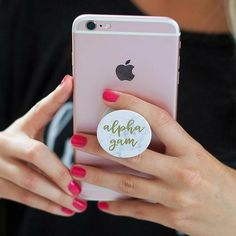 """Add a """"pop"""" of Alpha Gam to your phone with our Marble PopSocket. With a marble design and gold lettering, the PopSocket is best used for video chat, texting and most importantly selfies! Iphone 8, Iphone 7 Phone Cases, Phone Lockscreen, Cute Phone Cases, Coque Iphone, Apple Iphone, Accessoires Iphone 6, Pocket Socket, Phone Cases"""